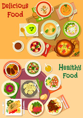 Soup, salad and meat dishes icon set design