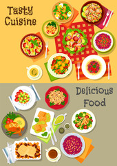 Fresh salad with vegetable, fish and meat icon set