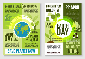 Save earth nature and plant tree vector templates