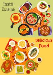 Italian, spanish and japanese cuisine dishes icon