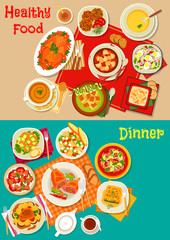 Fresh salad, soup and meat dishes icon set design