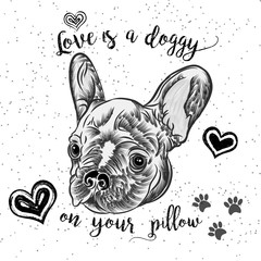 Girl French Bulldog illustration print in golden sparkles. Cute fashionable dog vector sketch. My tail wagging is pure love postcard. Hand drawn positive background with gold glitter and stars.