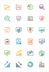 Business Graphs & Charts Icons - Colored Series