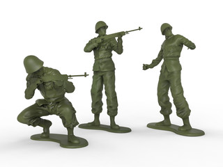 Three plastic toy soldiers