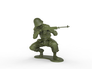 Toy soldier in squating position