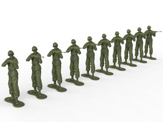 Firing squad of toy soldiers