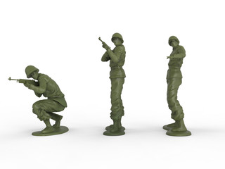 Three toy soldiers - front view