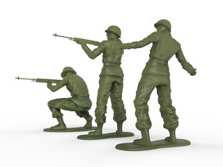 Three toy soldiers with stands