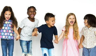 Group of kids fun enjoying happiness together
