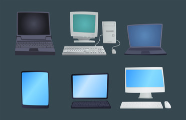 Retro computer item classic antique technology style business personal equipment and vintage pc desktop hardware communication object vector illustration.