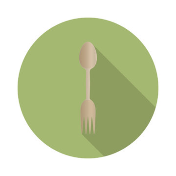 flat vector wooden spork icon with long shadow in to green round geometric shape as zero waste, bpa and plastic free concept