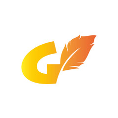 G letter with quill stock logo design