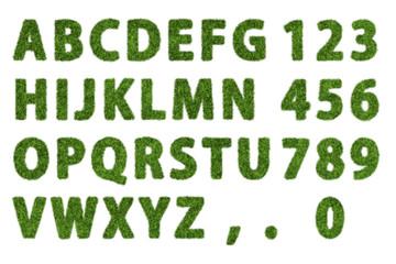 Green grass flat alphabet with white background