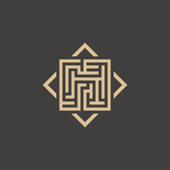 Abstract maze element. Maze emblem. Square ornament. Pattern.