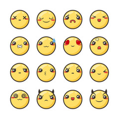 Set of cute lovely kawaii emoticon.