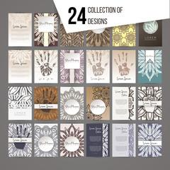 Big set of design templates. Brochures in random colorful style.