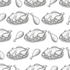 Monochrome sketch seamless pattern with thanksgiving turkey. Vector.