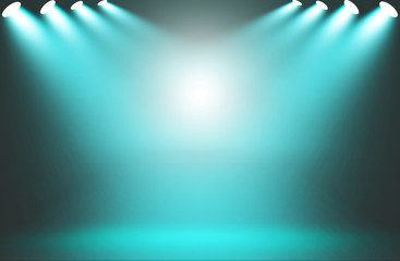 Spotlight blue on stage background.