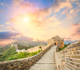 Deurstickers Chinese Muur majestic Great Wall of China at sunset