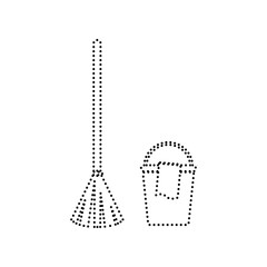 Broom and bucket sign. Vector. Black dotted icon on white background. Isolated.