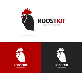 Vector of rooster and cock logo combination. Chinese and cockerel design element for new year cards