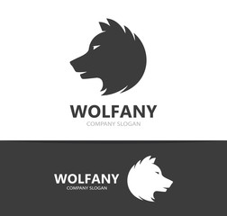 Vector of wolf and predator logo combination. Beast and dog symbol or icon. Unique wildlife and hunter logotype design template.