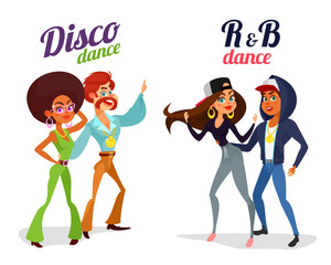 Set of vector cartoon illustrations of two couples dancing dance in disco style and rhythm and blues isolated on white