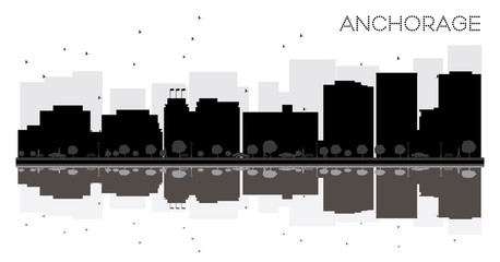 Anchorage City skyline black and white silhouette with reflections.