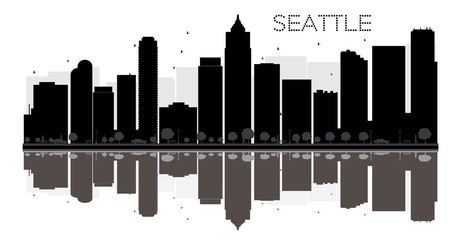 Seattle City skyline black and white silhouette with reflections.