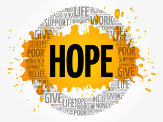 HOPE word cloud collage, concept background