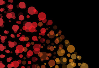 Black background business illustration of colorful bubbles and bokeh.