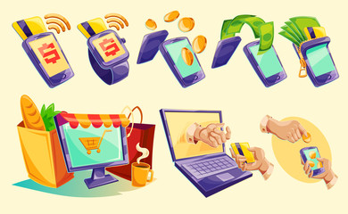 Vector cartoon illustration devices for e-payments. Icons of mobile phones, laptop, wristwatches showing the ease and convenience of online payments