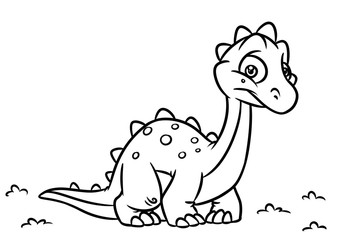 Dinosaur Diplodocus coloring page cartoon Illustrations isolated image animal character