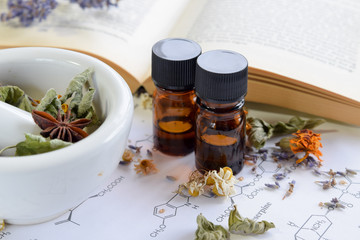 herbal medicine with essential oils on science shhet