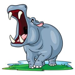 Hippo Cute Cartoon Illustration of cute cartoon hippo.