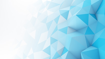 Blue white gradient polygonal surface abstract 3D render Wall mural