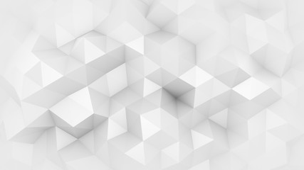 White polygonal geometric surface 3D render