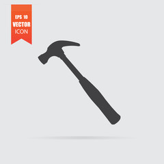Hammer icon in flat style isolated on grey background.