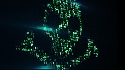 Skull shape of binary code on computer screen