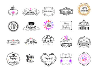 Badge as part of the design - Happy Birthday Sticker, stamp, logo - for design, hands made. With the use of floral elements, calligraphy and lettering