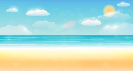 bright summer sky sea sand beach background