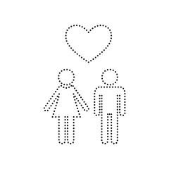 Family symbol with heart. Husband and wife are kept each other`s hands. Love. Vector. Black dotted icon on white background. Isolated.