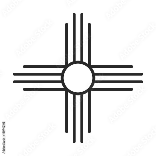Native American Sun Symbol Vector Icon Stock Image And Royalty Free