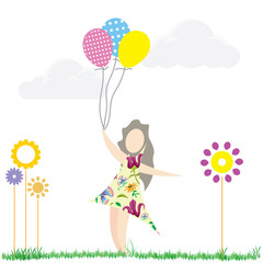 girl on ground with balloons