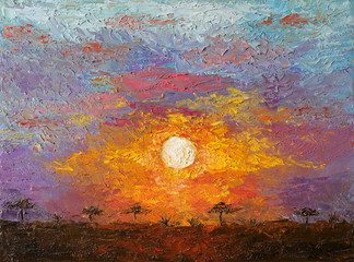 Oil painting on canvas of sunset in African savannah landscape.