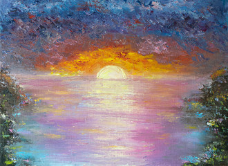 Oil painting on canvas of sunset on sea.