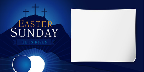 Easter sunday holy week poster. Easter christian motive, vector invitation to an Easter Sunday service with text He is risen on a background of rolled away from the tomb stone of Calvary