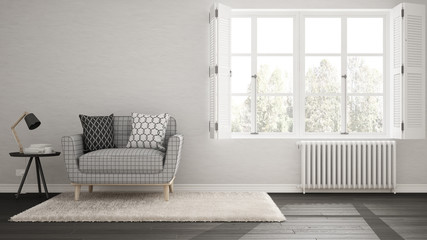 Minimalist living room, simple white and gray living with big window, scandinavian classic interior design