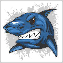 angry shark head on grunge background