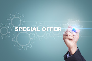 Businessman drawing on virtual screen. special offer concept.